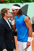 Roland Garros. Paris, France. June 3rd 2006..Rafael Nadal talking to the judge during his game against Paul-Henri Mathieu.