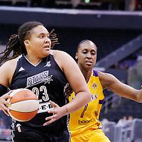 25 May 2014: San Antonio Stars forward/center Danielle Adams (23) drives past Los Angeles Sparks forward/center Sandrine Gruda (7) during the Los Angeles Sparks 83-62 victory over the San Antonio Stars, at the Staples Center, Los Angeles, California, USA.