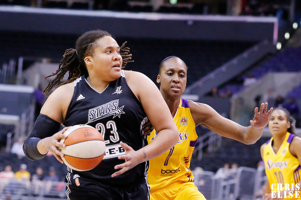 25 May 2014: San Antonio Stars forward/center Danielle Adams (23) drives past Los Angeles Sparks forward/center Sandrine Gruda (7) during the Los Angeles Sparks 83-62 victory over the San Antonio Stars, at the Staples Center, Los Angeles, California, USA.