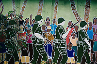 A painted mural depiciting soldiers and locals in Guam.