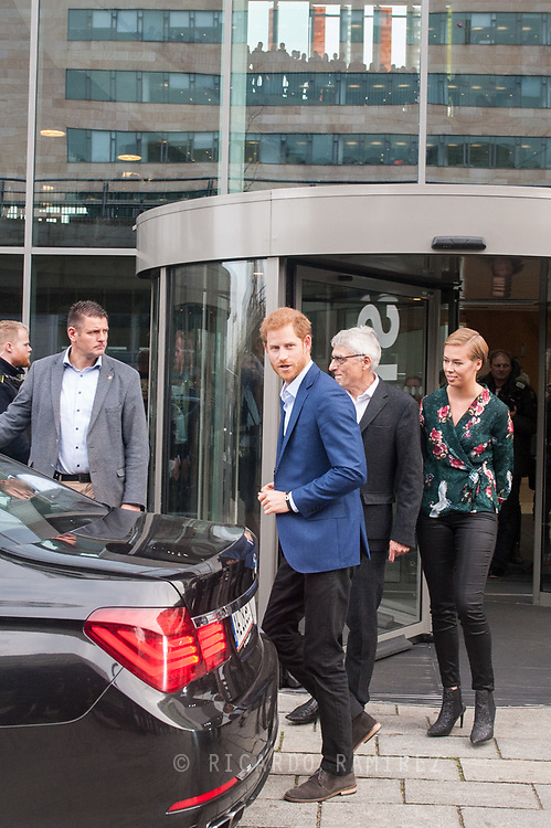 26.10.12017. Copenhagen, Denmark.  <br /> Prince Harry's leaves the Ørestad High School in Copenhagen.<br /> Photo: © Ricardo Ramirez