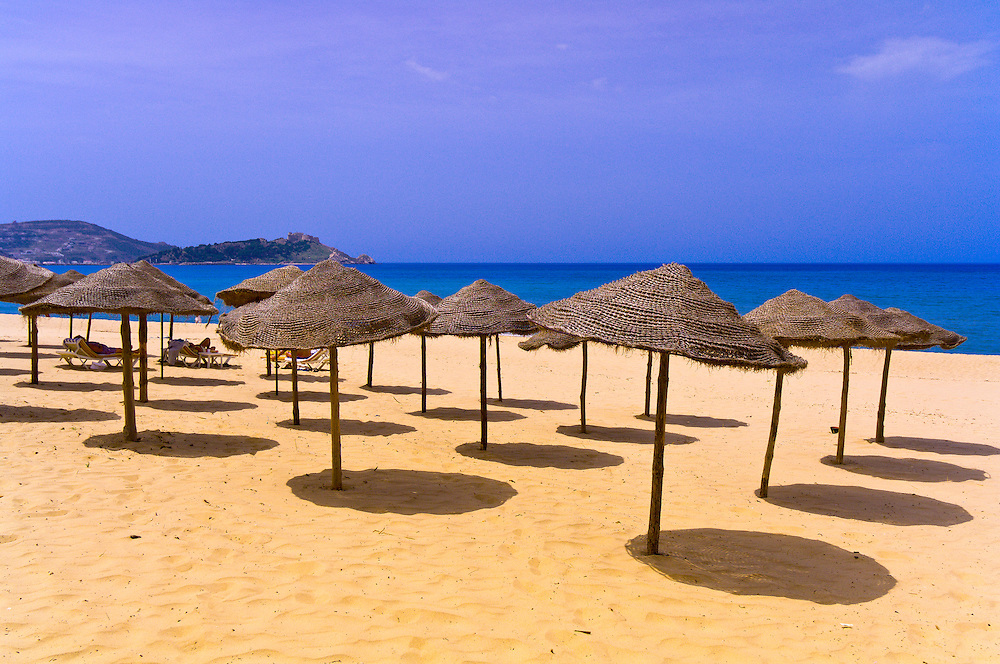 Beach umbrellas at the Mediterranean Sea, Hotel Mehari Beach, Tabarka, Tunisia