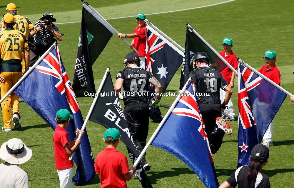 Flag Bearers at Seddon Park.<br />3rd one day international. New Zealand Black Caps versus Australia one day Chappell Hadlee cricket series. Seddon Park, Hamilton, New Zealand. Tuesday 9 March 2010. Photo: Andrew Cornaga/PHOTOSPORT