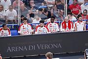 Delusione panchina Armani Milano, DOLOMITI ENERGIA TRENTINO vs EA7 EMPORIO ARMANI OLIMPIA MILANO, gara 4 Finale Play off Lega Basket Serie A 2017/2018, PalaTrento Trento 11 giugno 2018 - FOTO: Bertani/Ciamillo