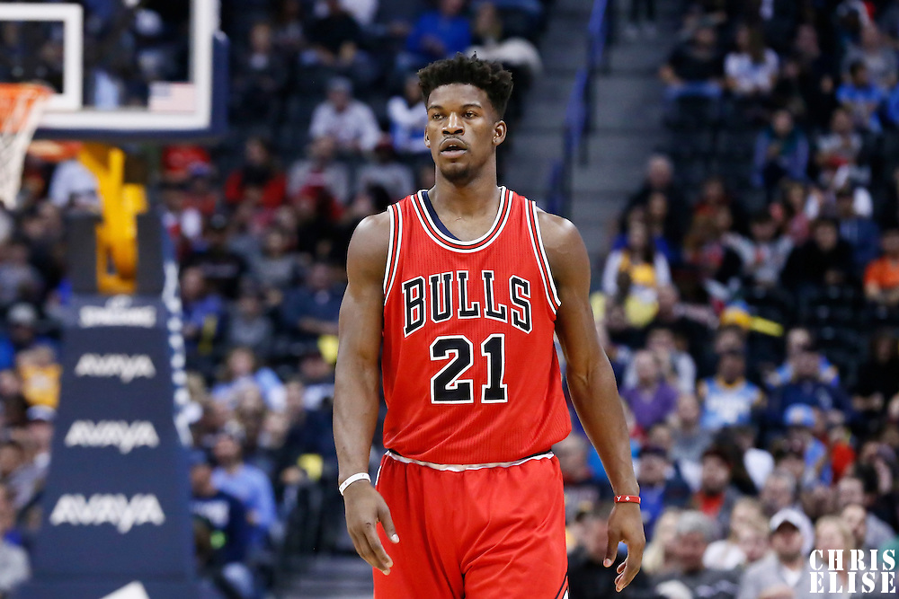 22 November 2016: Chicago Bulls forward Jimmy Butler (21) is seen during the Denver Nuggets 110-107 victory over the Chicago Bulls, at the Pepsi Center, Denver, Colorado, USA.