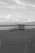 Black and white photo beach landscape wall art. Southern California lifestyle photography. Lifeguard station and ocean. Manhattan Beach Pier, Southbay, CA. Matted print, limited edition. Fine art photography print.