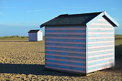 Beach huts near Great Yarmouth, Norfolk UK