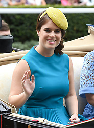 Princess Eugenie of York arriving in a carriage during day one of Royal Ascot at Ascot Racecourse.
