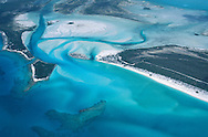 Cape Santa Maria from the air, coral reefs and tidal flats, Long Island, Bahamas