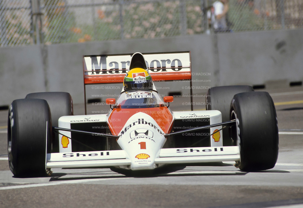 PHOENIX -  MARCH 1989:  Ayrton Senna of Brazil and the Mclaren-Honda team rounds a corner during the Formula One United States Grand Prix held in Phoenix, Arizona in March 1989. (Photo by David Madison/Getty Images) *** Local Caption *** Ayrton Senna