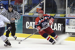 11 November 2006: Frank Littlejohn puts on the brakes and heads the other direction with the puck out front..The Elmira Jackals met the Bloomington PrairieThunder at the U.S. Cellular Coliseum in Bloomington Illinois.<br />