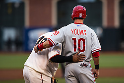 Pablo Sandoval (#48) and Michael Young (#10), 2013.