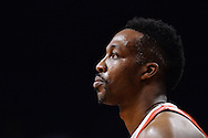 Feb 4, 2016; Phoenix, AZ, USA;  Houston Rockets center Dwight Howard (12) looks on in the game against the Phoenix Suns at Talking Stick Resort Arena. Mandatory Credit: Jennifer Stewart-USA TODAY Sports