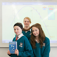 St John Bosco Community College Students Clare Finucan (Center) & Mary O'Connell (Right) pictured with their Model Leeann Turbidy who are competing in the BT Young Scientist & Technology competition with their X squared Curvature of Hair project.<br /> Pictured Credit  Brian Gavin Press 22