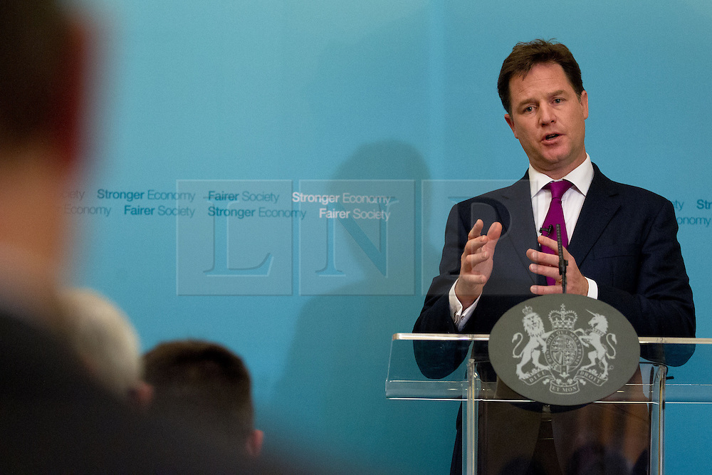 © Licensed to London News Pictures. 01/07/2013. London, UK. The British Deputy Prime Minister, Nick Clegg, fields questions during a press conference held for members of the media at Admiralty House in London today (01/07/2013). Photo credit: Matt Cetti-Roberts/LNP