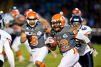 KELOWNA, BC - AUGUST 3:  Lawrenzo Dissee #22 of Okanagan Sun runs with the ball against the Kamloops Broncos  at the Apple Bowl on August 3, 2019 in Kelowna, Canada. (Photo by Marissa Baecker/Shoot the Breeze)