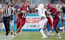 September 16, 2017 - Boca Raton, Florida, U.S. - Florida Atlantic Owls wide receiver Kamrin Solomon (15) runs down the sidelines after a catch before being pushed out of bounds by Bethune Cookman Wildcats cornerback Elliott Miller (7) in Boca Raton, Florida on September 16, 2017. (Credit Image: © Allen Eyestone/The Palm Beach Post via ZUMA Wire)
