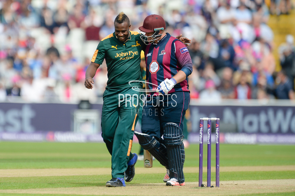 Andre Russell & Richard Levi during the NatWest T20 Blast Semi Final match between Nottinghamshire County Cricket Club and Northamptonshire County Cricket Club at Edgbaston, Birmingham, United Kingdom on 20 August 2016. Photo by David Vokes.