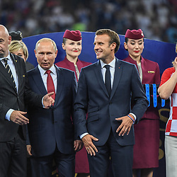president Gianni Infantino, Russia's President Vladimir Putin, France's President Emmanuel Macron and Croatia's President Kolinda Grabar Kitarovic during the World Cup Final match between France and Croatia at Luzhniki Stadium on July 15, 2018 in Moscow, Russia. (Photo by Anthony Dibon/Icon Sport)