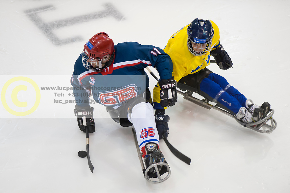 GBR v SWE during the 2013 World Para Ice Hockey Qualifiers for Sochi, Torino, Italy