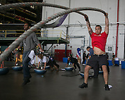 """Delta employees participant in a """"Hanger Games"""" fitness challenge."""