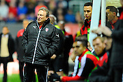Rotherham United manager Neil Warnock watching on from the technical area as the match unfolds during the Sky Bet Championship match between Bristol City and Rotherham United at Ashton Gate, Bristol, England on 5 April 2016. Photo by Graham Hunt.