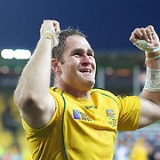 Australian Captain James Horwill celebrates his sides victory after the South Africa V Australia Quarter Final match at the IRB Rugby World Cup tournament. Wellington Regional Stadium, Wellington, New Zealand, 9th October 2011. Photo Tim Clayton...