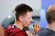 LUBLIN, POLEN 2017-06-18<br /> Tolken under Sveriges U21 landslags presskonferens p&aring; Arena Lublin den 18 juni, 2017.<br /> Foto: Nils Petter Nilsson/Ombrello<br /> Fri anv&auml;ndning f&ouml;r kunder som k&ouml;pt U21-paketet.<br /> Annars Betalbild.<br /> ***BETALBILD***