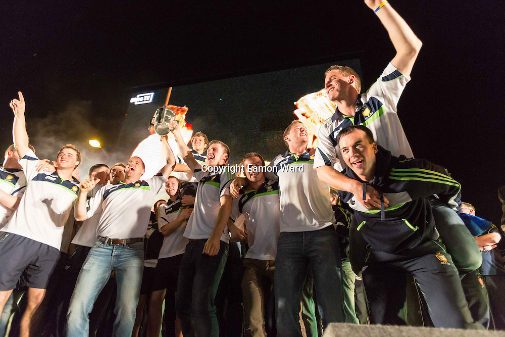 Clare Manager Davy Fitzgerald and the team on stage at the homecoming  at Tim Smythe Park, Ennis on Sunday night. Photograph by Eamon Ward