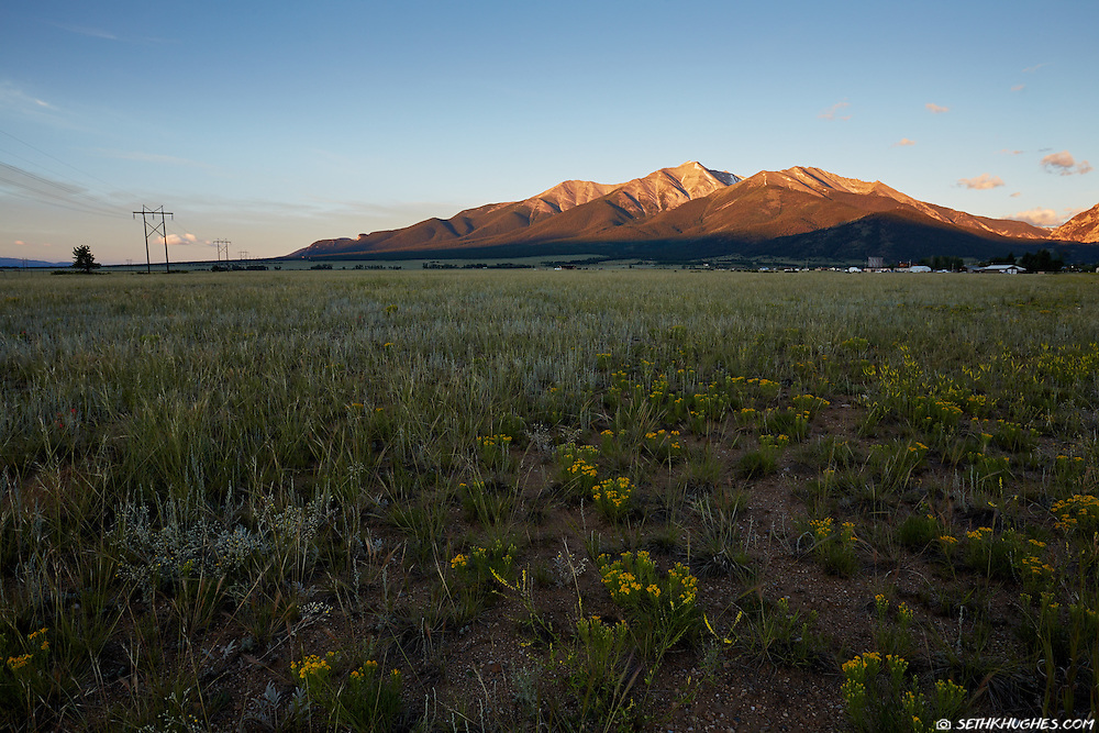 The sun rises on Mt. Princeton of the Collegiate Peaks near Buena Vista, Colorado.