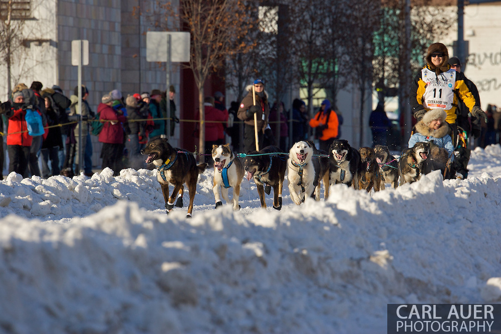 March 7th, 2009:  Anchorage, Alaska: Michael Suprenant of Chugiak, Alaska at the start of the 2009 Iditarod race.
