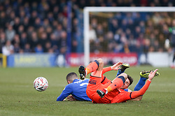 Lee Gregory of Millwall and Rod McDonald of AFC Wimbledon clash  - Mandatory by-line: Arron Gent/JMP - 16/02/2019 - FOOTBALL - Cherry Red Records Stadium - Kingston upon Thames, England - AFC Wimbledon v Millwall - Emirates FA Cup fifth round proper