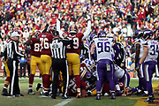 Washington Redskins offensive tackle Ty Nsekhe (79) raises his arms in celebration as he signals a touchdown after the Redskins score a second quarter touchdown good for a 17-14 Redskins lead during the 2017 NFL week 10 regular season football game against the Minnesota Vikings, Sunday, Nov. 12, 2017 in Landover, Md. The Vikings won the game 38-30. (©Paul Anthony Spinelli)