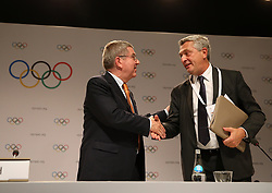 LIMA, Sept. 16, 2017  International Olympic Committee (IOC) President Thomas Bach (L) shakes hand with UN High Commissioner for Refugees Filippo Grandi during a press conference after the 131st IOC session in Lima, Peru, on Sept. 15, 2017. The 131st IOC session concluded on Friday. (Credit Image: © Li Ming/Xinhua via ZUMA Wire)
