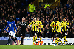 Young Boys players celebrate after Sanogo's opening goal - Photo mandatory by-line: Matt McNulty/JMP - Mobile: 07966 386802 - 26/02/2015 - SPORT - Football - Liverpool - Goodison Park - Everton v Young Boys - UEFA EUROPA LEAGUE ROUND OF 32 SECOND LEG
