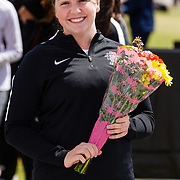 23 March 2018: San Diego State senior Coryne McKenney is recognized during a seniors ceremony at  the final day of the 43rd annual Aztec Invitational.<br /> More game action at sdsuaztecphotos.com