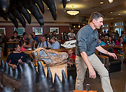 Professor Lawrence Witmer leads a presentation on Dinosaur anatomy and the specific research of his lab during the Science Cafe at The Front Room on September 25, 2013.