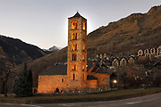 Sant Climent de Taull, or Church of St Clement of Tahull, a Romanesque catholic church consecrated 1123, in La Vall de Boi, Lleida, Catalonia, Spain. Attached to the church is a 6 storey square bell tower. The church is listed as a UNESCO World Heritage Site as part of the Catalan Romanesque Churches of the Vall de Boi. Picture by Manuel Cohen
