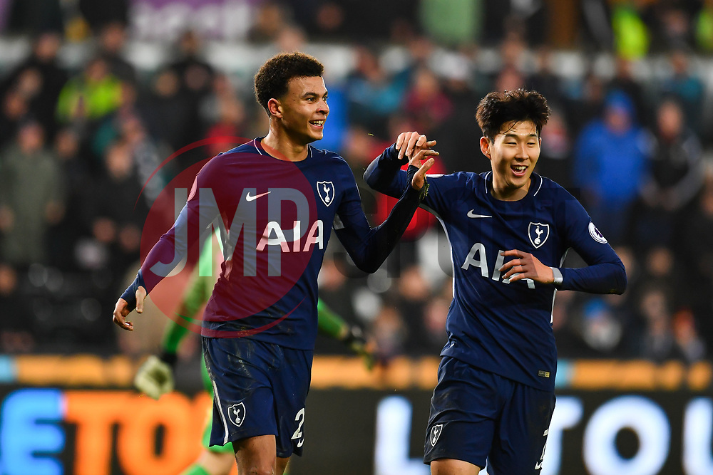 Dele Alli of Tottenham Hotspur celebrates scoring his side's second goal  - Mandatory by-line: Craig Thomas/JMP - 02/01/2018 - FOOTBALL - Liberty Stadium - Swansea, England - Swansea City v Tottenham Hotspur - Premier League