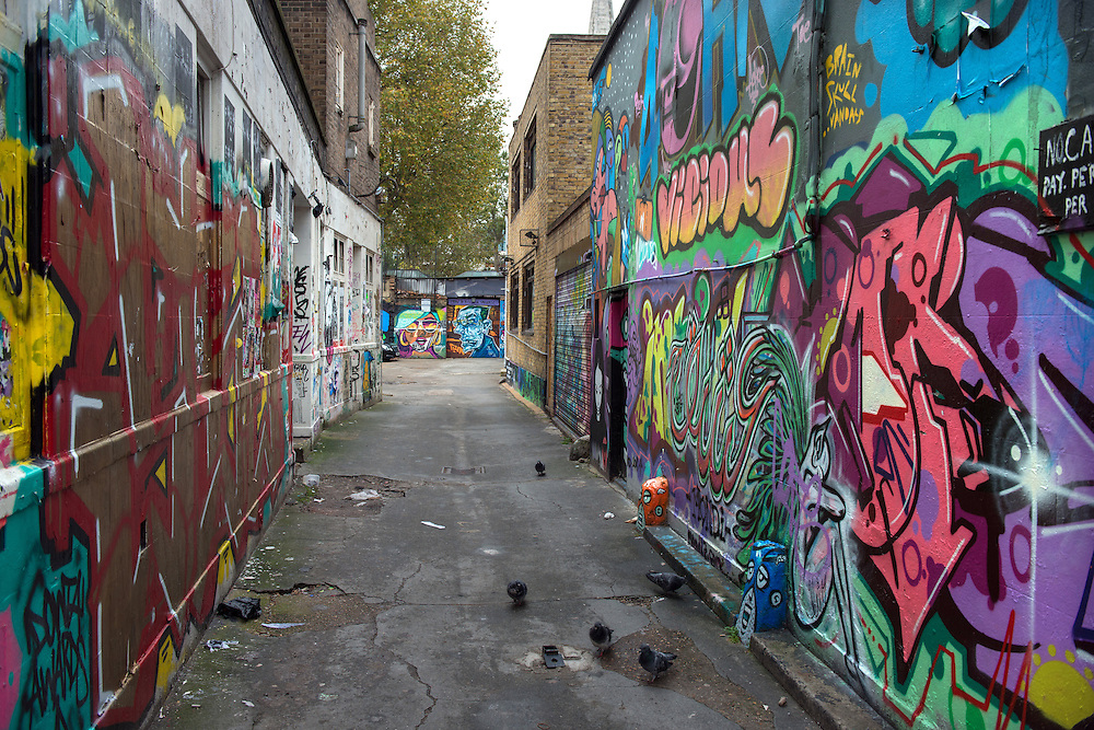 East London's trendy Shoreditch area.<br /> Photos shows graffiti art on walls off Brick Lane.