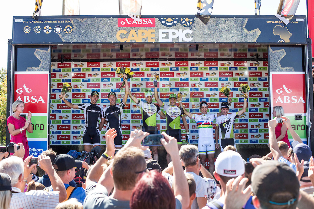 Stage 7 podium during the final stage (stage 7) of the 2013 Absa Cape Epic Mountain Bike stage race from Stellenbosch to Lourensford Wine Estate in Somerset West, South Africa on the 24 March 2013..Photo by Nick Muzik/Cape Epic/SPORTZPICS
