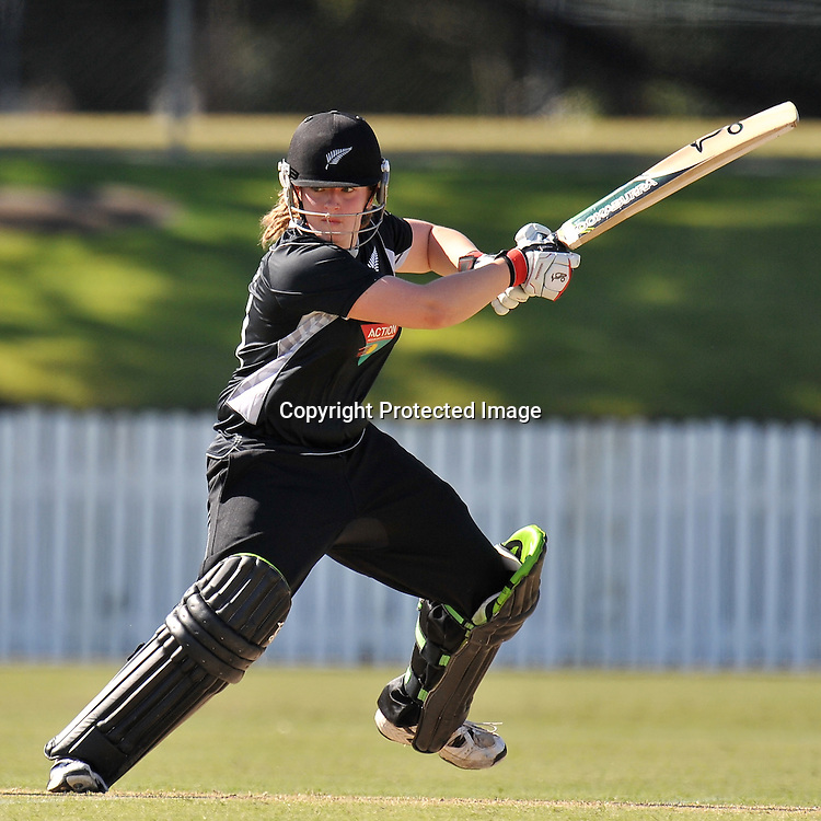 Frances Mackay follows through for the White Ferns during action in Game 6 (ODI) of the Rose Bowl Trophy Cricket played between Australia and New Zealand at Alan Border Field in Brisbane (Australia) ~ Monday 14May 2011 ~ Photo : Steven Hight (AURA Images) / Photosport