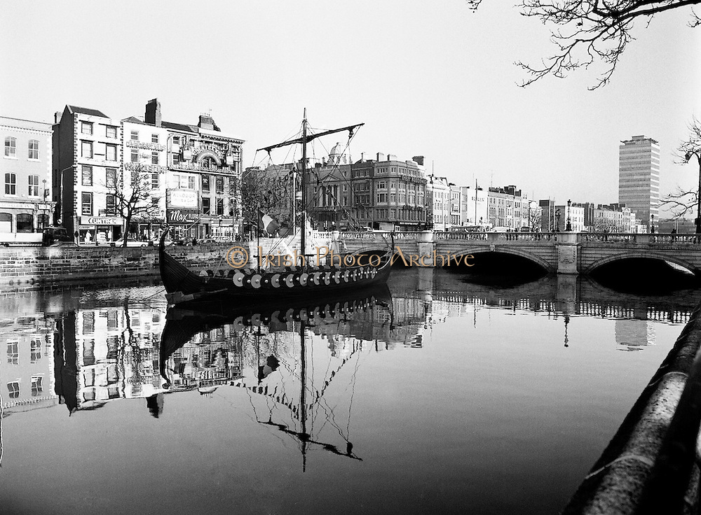 As part of the Millennium celebrations in Dublin, a Viking longboat sailed up the Liffey and moored at O&rsquo;Connell Bridge. The finding of the Viking settlement at Wood Quay shows the depth of Dublin&rsquo;s Viking heritage.<br />