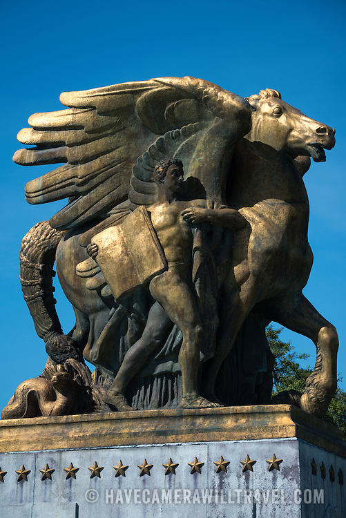 The Arts of War and Peace is a collection of four bronze statues in East and West Potomac Parks. The Arts of War stand on the eastern end of Arlington Memorial Bridge facing the Lincoln Memorial. The Arts of Peace stand just to their north. The neoclassical Arts of Peace were sculpted by American sculptor James Earle Fraser.