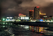 Atlantic City beach and casinos at night, New Jersey, USA