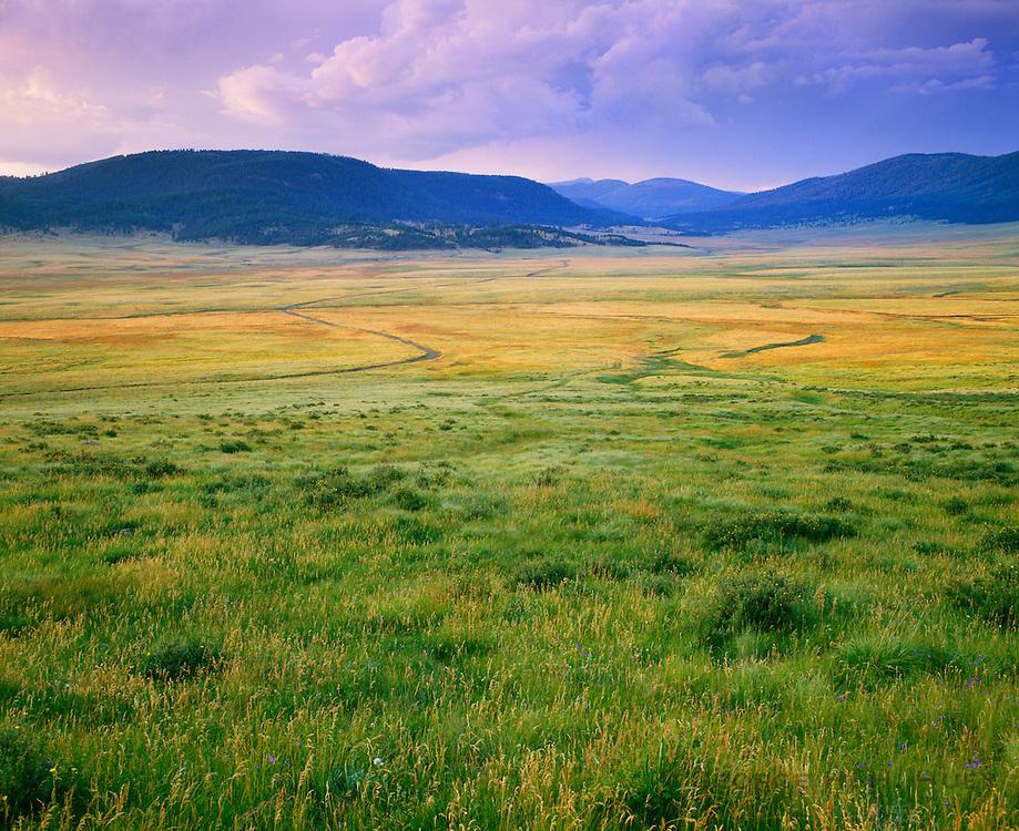 0214-1002 ~ Copyright: George H. H. Huey ~ Valle Grande [valle Caldera] [Baca Ranch], Jemez Mountains. Volcanic Caldera Formed @ one million years ago. Jemez volcanic field. Valles Caldera National Preserve, New Mexico.