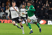 Kadeem Harris (7) & Jason Knight (38) during the EFL Sky Bet Championship match between Derby County and Sheffield Wednesday at the Pride Park, Derby, England on 11 December 2019.