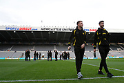Burton Albion striker Cauley Woodrow (12) and Burton Albion midfielder Luke Murphy (30) take a walk across the pitch after arriving at St James's Park during the EFL Sky Bet Championship match between Newcastle United and Burton Albion at St. James's Park, Newcastle, England on 5 April 2017. Photo by Richard Holmes.