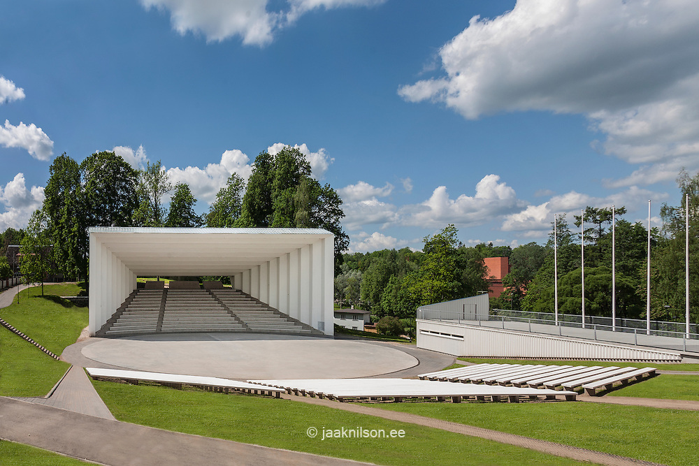Song festival arena in Viljandi, Estonia. Concert area with open-air stage and benches.