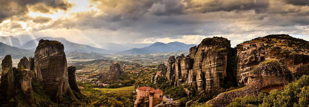 Sunrise in Meteora, Greece.